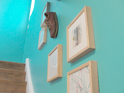 April Fool's Day shoe on the wall