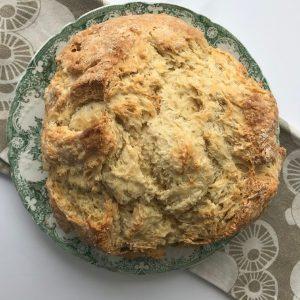 irish soda bread baked on plate