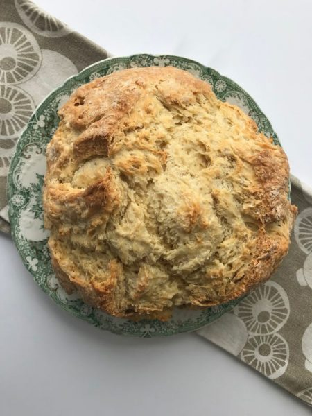 irish soda bread baked on plate