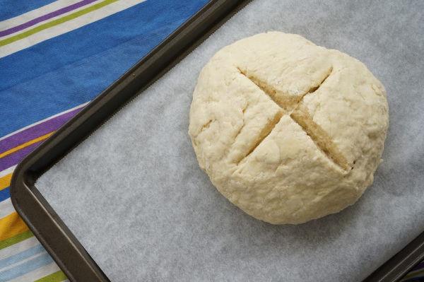 irish soda bread going into the oven
