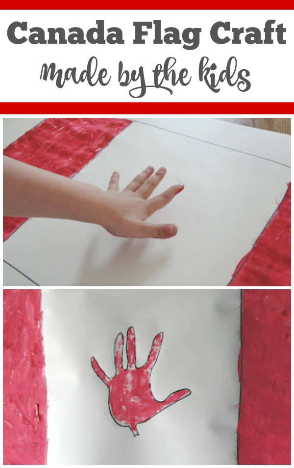 A simple Canada flag craft to make with the kids - Celebrate Canada Day with a hand print flag. | Canada Craft for Kids | Canada Flag Craft | Patriotic Craft Canada |