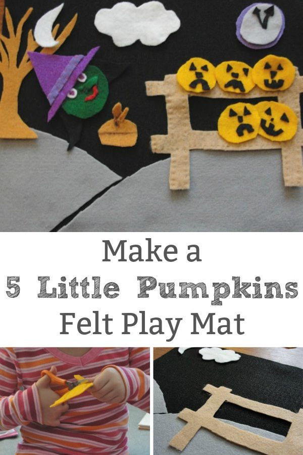 5 little pumpkins felt play mat