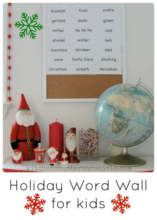 holiday word wall for kids