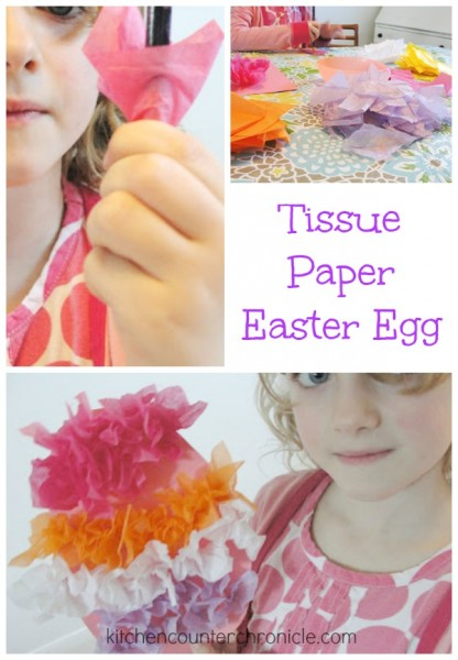 Tissue Paper Easter Crafts like this tissue paper Easter egg