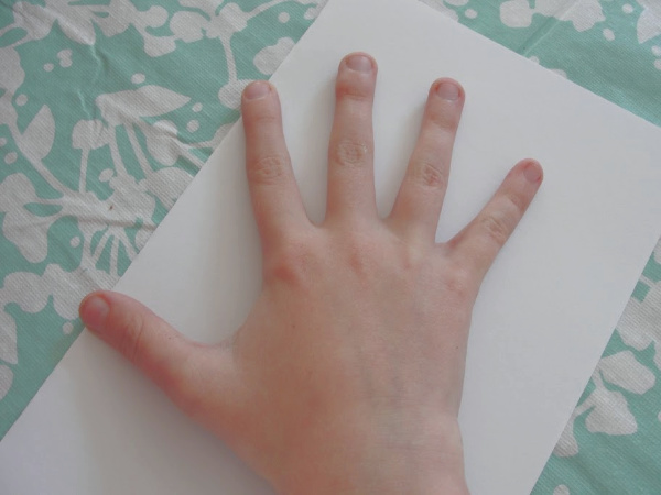 handprint father's day card hand on paper