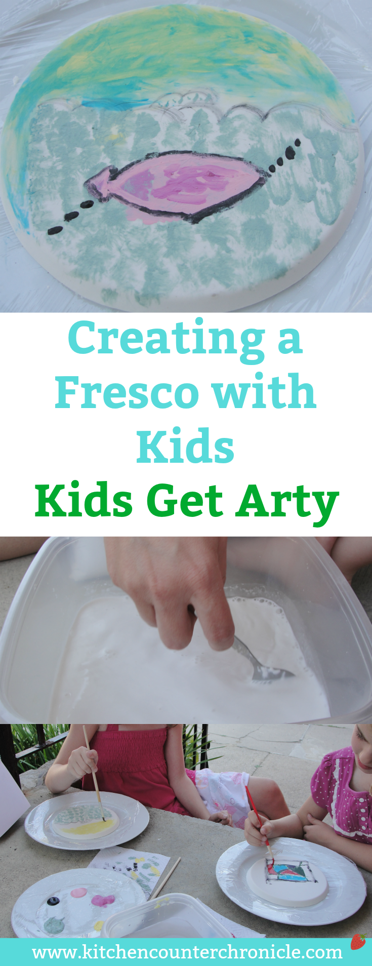 Creating a Fresco with Kids - A fun hands on art activity for kids. Painting plaster, just like DaVinci did. Step by Step instructions. | Art Project for Kids | Davinci for Kids | Painting Activity for Kids | Creative Arts for Kids | STEAM for Kids |