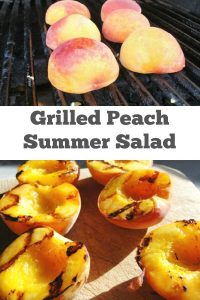 Grilled Peach Summer Salad with Candied Pecans - Learn how to properly grill peaches and make candied peaches for a beautiful summer salad.   Summer Salad   Peach Recipe   Salad Recipe   Candied Nuts   Candied Pecans  