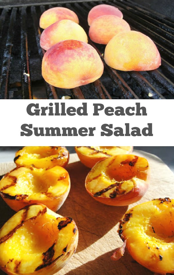 Grilled Peach Summer Salad with Candied Pecans - Learn how to properly grill peaches and make candied peaches for a beautiful summer salad. | Summer Salad | Peach Recipe | Salad Recipe | Candied Nuts | Candied Pecans |