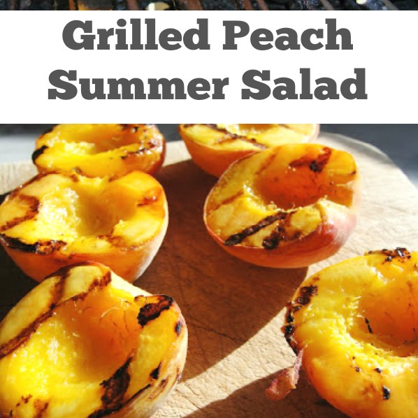 grilled peaches and candied pecans