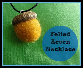 felted acron necklace