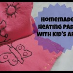 Homemade heating pads with kid's art