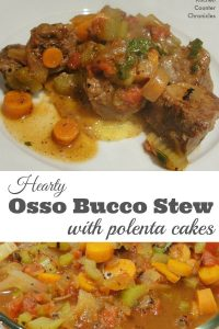 Hearty Osso Bucco Stew with Polenta Cakes - Skip the veal and make this osso bucco with stewing beef. The same rich, hearty flavours with a less expensive cut of meat. | Stew Recipe | Osso Bucco Recipe | Family Dinner Recipe |