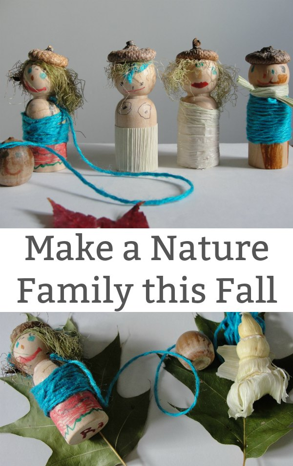 Nature Family Fall Craft for Kids - Head outside and gather up everything a child needs to make a simple nature family. | Fall Craft for Kids | Outdoor Play for Kids | Nature Craft for Kids |