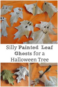 painted leaf ghost for halloween tree