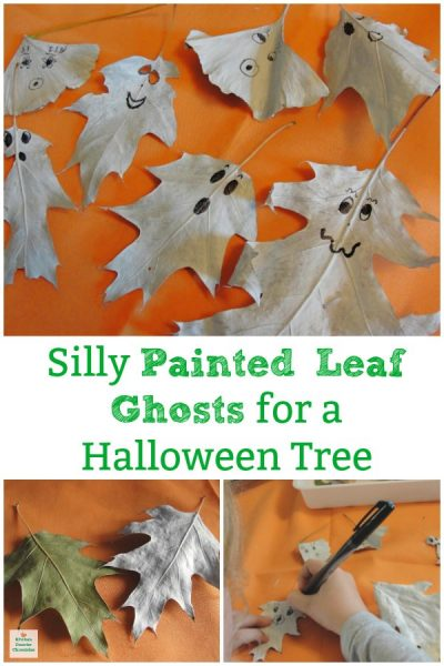 painted leaf ghosts for halloween tree