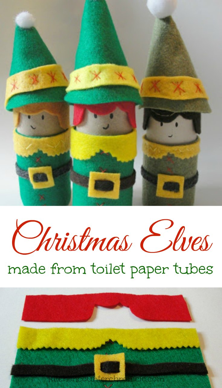 Christmas elf craft made from toilet paper rolls
