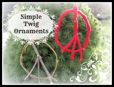 peace sign twig ornament