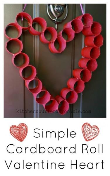 cardboard roll valentine heart