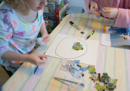 kids doing collage art STEAM project for kids
