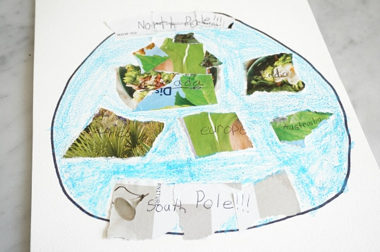 earth collage art STEAM project for kids