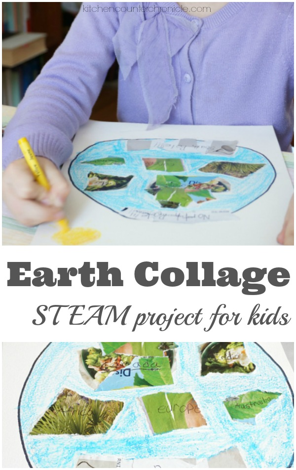 Earth Collage STEAM project for Kids