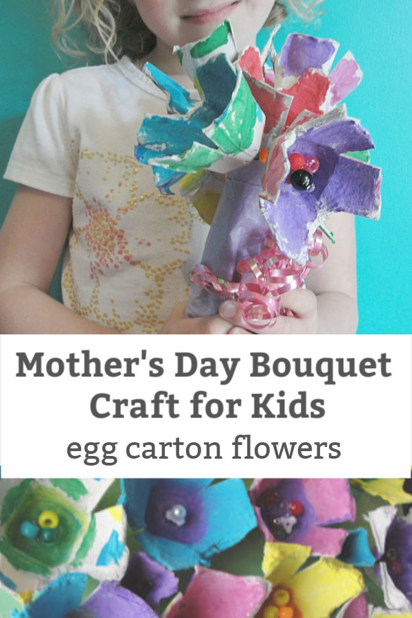 mother's day egg carton flower bouquet