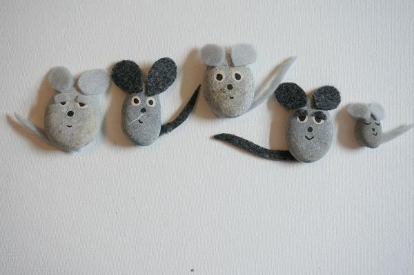 pebble mice with felt ears