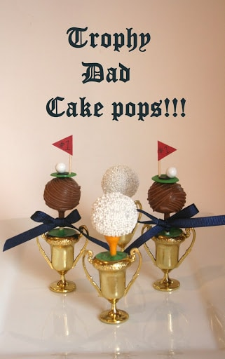 golf trophy cake pop
