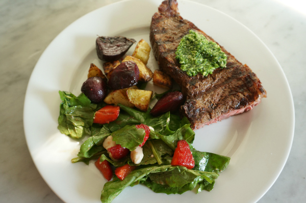 kale and garlic scape pesto with steak