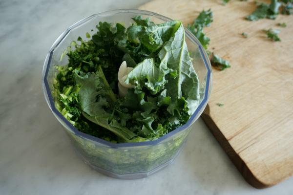 kale in food processor