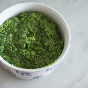 kale and garlic scape pesto in bowl