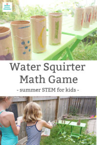 summer stem activity for kids water squirter math game featured image