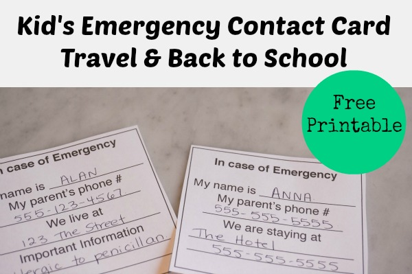 kids emergency contact card