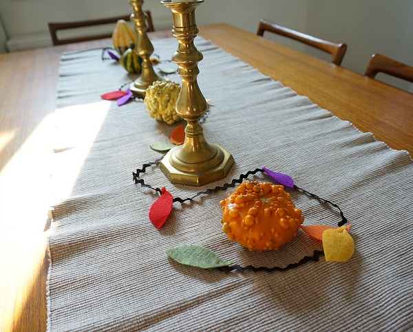 fall leaf garland on table