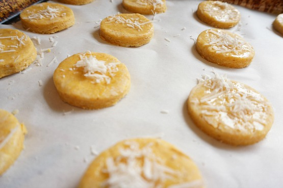 raw pumpkin biscuit on baking sheet