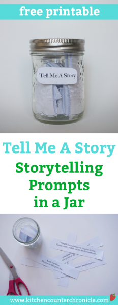 Storytelling Prompts in a Jar - Print off these storytelling prompts and share them with your kids. Use them to tell stories and write stories with your children. | Creative Writing for Kids | Writing Activity for Kids | Kids Activities | Free Printable for Kids |