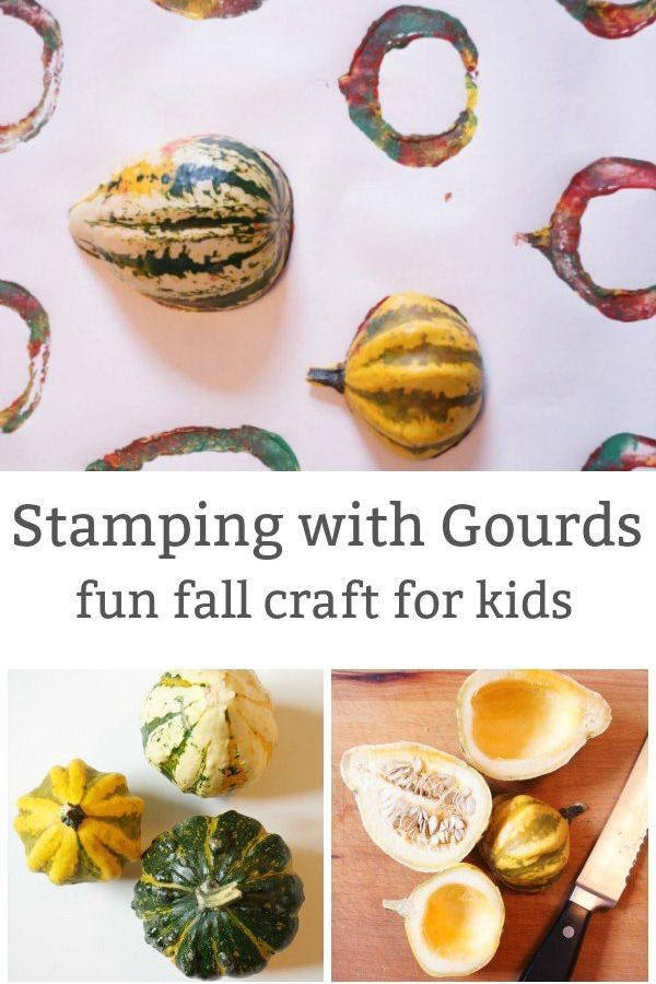 stamping with gourds fall craft for kids