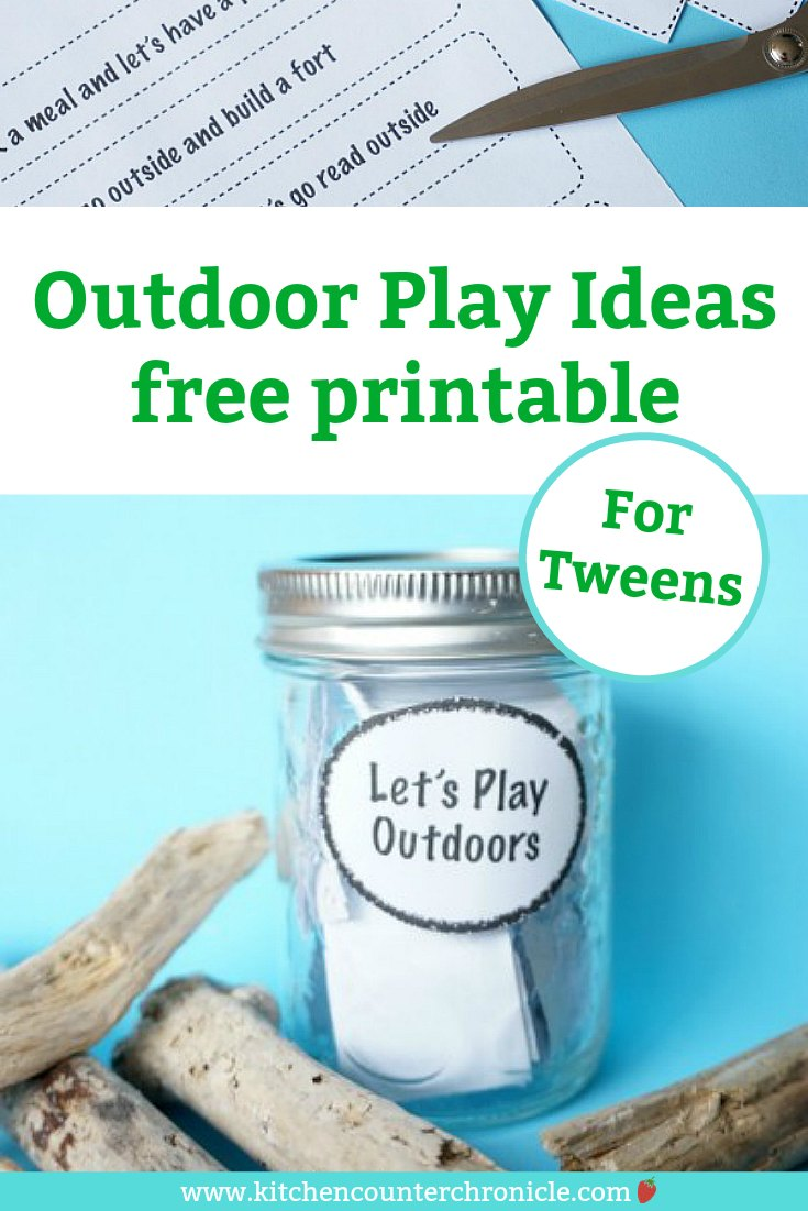 Balance screen time with outdoor play time for the tweens in your house with these simple outdoor play ideas. Print them off and pop them in a jar - the kids can be inspired all summer long. #outdoorplay #outdoorplayforkids #outdoorplayfortweens #tweens #tweenoutdoorplay #screentime #summeroutdoorplay #summerwithtweens #backyardplay #summeractivities #summeractivitiesolderkids #olderkidsplay #olderkidsoutdoorplay #playforolderkids #summerolderkids