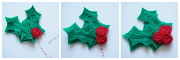 felt holly berries sewn on