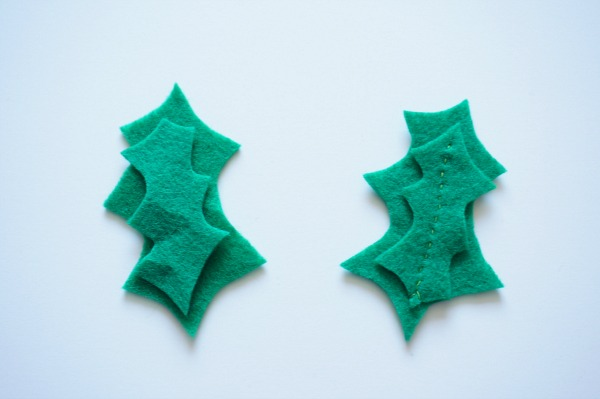 felt holly leaves sewn
