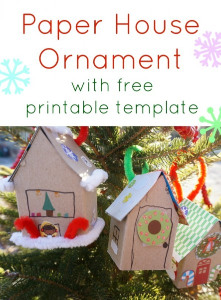 paper house ornament template