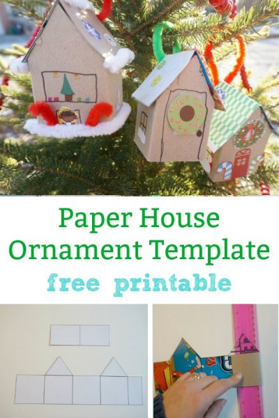 paper house ornament template free printable