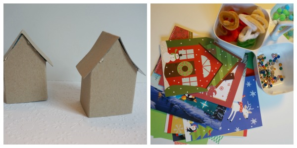 paper houses and craft supplies