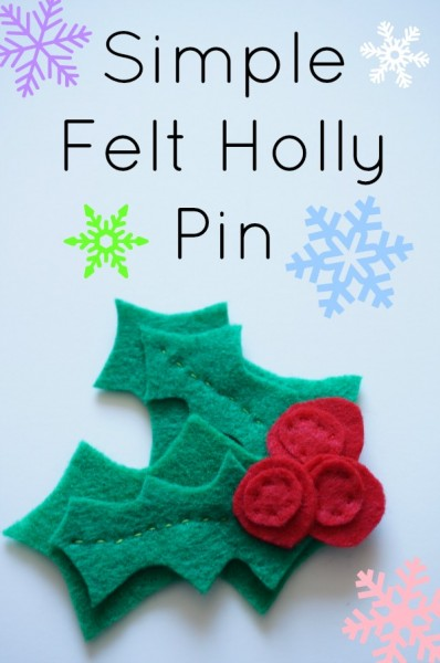 simple felt holly pin