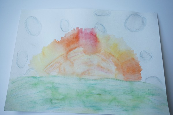 sun watercolour by child