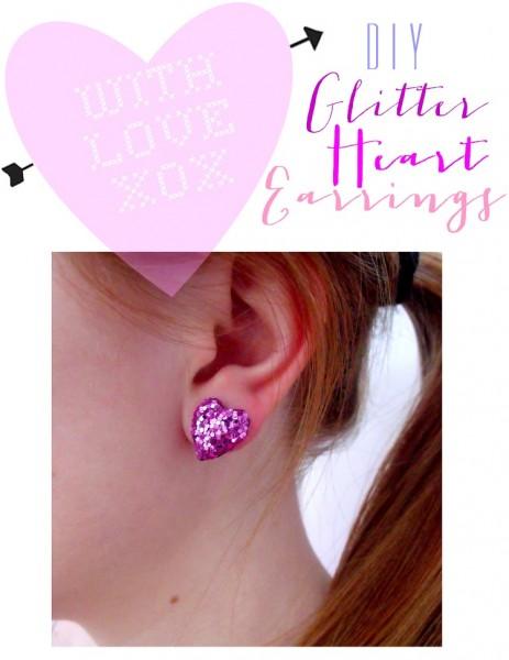 glittery heart earrings