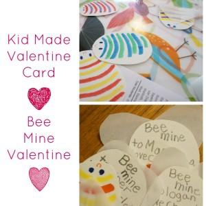 kid made valentine card bee mine