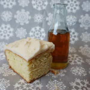 maple syrup cake with maple syrup frosting with maple syrup jar