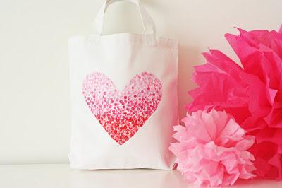 painted heart tote bag Valentine for tweens