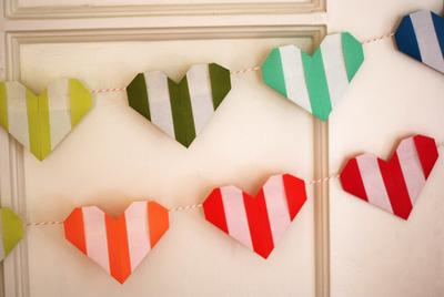 striped origami heart garland